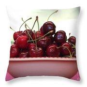 Bowl Of Cherries Closeup Throw Pillow by Carol Groenen