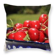Bowl Of Cherries In The Garden Throw Pillow