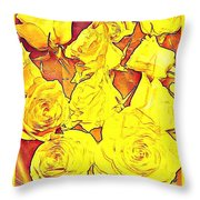 Bowl Of Fireroses Throw Pillow