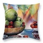Apples In A Wooden Bowl With Cherries On The Side Throw Pillow
