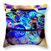 Bowl Of Marbles Throw Pillow