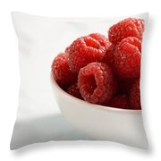 Bowl Of Raspberries Throw Pillow by Greg Huszar Photography