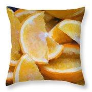 Bowl Of Sliced Oranges Throw Pillow