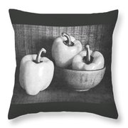 Bowl With Three Peppers Throw Pillow