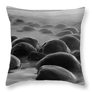 Bowling Ball Beach Bw Throw Pillow