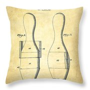 Bowling Pin Patent Drawing From 1938 - Vintage Throw Pillow