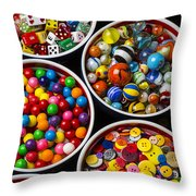 Bowls Of Buttons And Marbles Throw Pillow
