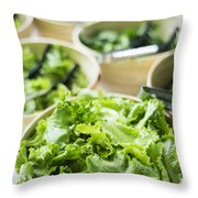 Bowls Of Salad Keaves Throw Pillow