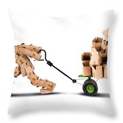 Box Character Moving Boxes On Trolley Throw Pillow