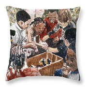 Box Of Baby Chicks Throw Pillow