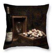 Box Of Wine Corks Still Life Throw Pillow