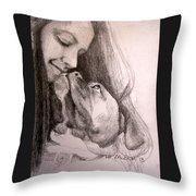 Boxer Kisses Throw Pillow