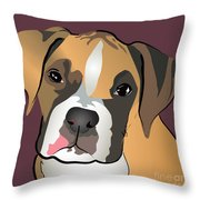 Boxer Puppy Pet Portrait  Throw Pillow