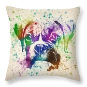 Boxer Splash Throw Pillow