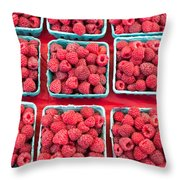 Boxes Of Fresh Red Raspberries Throw Pillow
