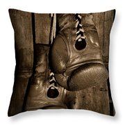 Boxing Gloves  Black And White Throw Pillow by Paul Ward