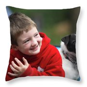 Boy, Age 6, Smiling With Jack Russell Throw Pillow