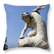 Boy And Dolphin Sculpture By Alexander Munro In Hyde Park London England Throw Pillow
