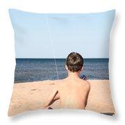 Boy At The Beach Flying A Kite Throw Pillow