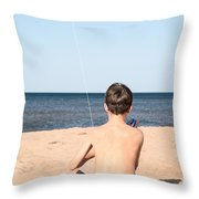 Boy At The Beach Flying A Kite Throw Pillow by Edward Fielding