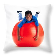 Boy Balancing On Exercise Ball Throw Pillow by Ron Nickel