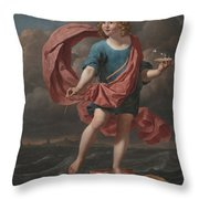 Boy Blowing Soap Bubbles Throw Pillow
