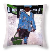 Boy Carrying Coal Circa 1901 Throw Pillow