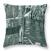 Boy In Canoo In Canal Throw Pillow