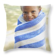 Boy In Towel Throw Pillow