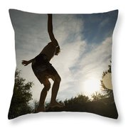 Boy Jumping Off Diving Board Throw Pillow