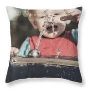 Boy Mesmerised By The Element Of Water In Motion Throw Pillow