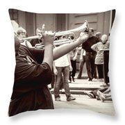 Boy On A Trumpet In Nola Throw Pillow