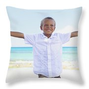 Boy On Beach Throw Pillow by Kicka Witte