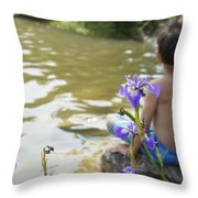 Boy On The Water Throw Pillow