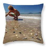 Boy Picking Seashells On The East Coast Throw Pillow