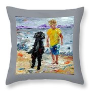 Boy Playing With The Dog Throw Pillow