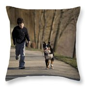 Boy Running With Dog Throw Pillow