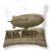 Boy Scouts And Goodyear Blimp Guarding Graf Zeppelin Los Angeles Airport Aug. 26 1929 Throw Pillow