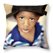 Boy Wearing Over Sized Hat Sideways Throw Pillow by Ron Nickel