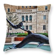 Boy With A Dolphin Throw Pillow
