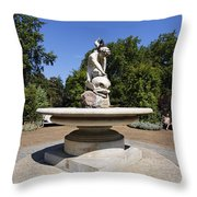 Boy With Dolphin Statue In Hyde Park London England Throw Pillow by Robert Preston
