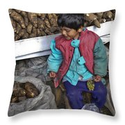 Boy With Grapes - Cusco Market Throw Pillow