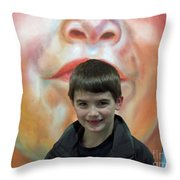 Boy With His Portrait Throw Pillow