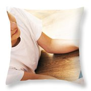 Boy With Notebook Throw Pillow