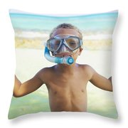 Boy With Snorkel Throw Pillow