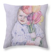 Boy With Tulips Throw Pillow by Kathy Weidner