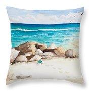 Boynton Beach Inlet Watercolor Throw Pillow