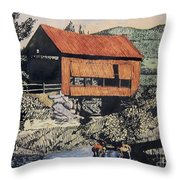 Boys And Covered Bridge Throw Pillow