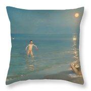 Boys Bathing At Skagen Throw Pillow