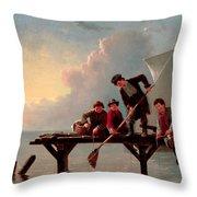 Boys Crabbing Throw Pillow